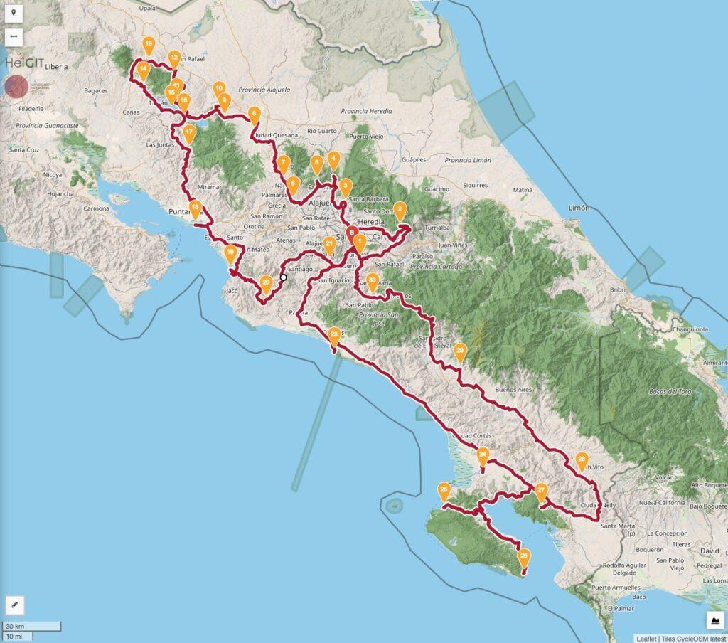 Classic Touring La Carrera Costa Rica Rally Map