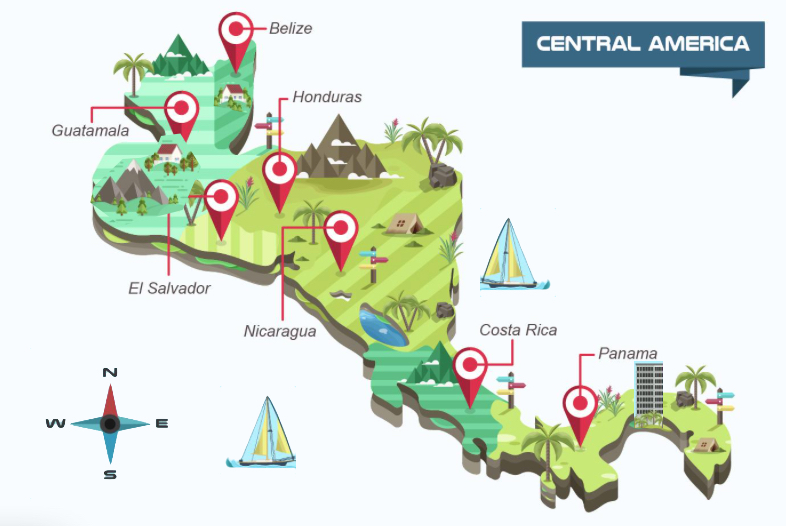 Rally Touring Costa Rica Central America Map