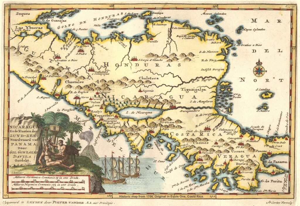 Bespoke Rallies Central America Equis One Historic map 1706